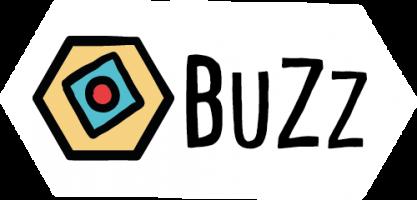 Logo BuZz in wit honingraat